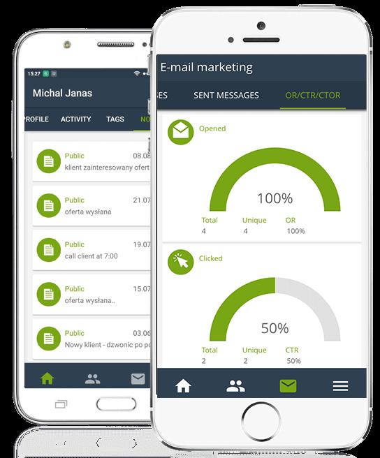 Widok mobilnej aplikacji SALESmanago